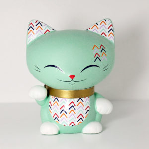 Mani the lucky cat, couleur menthe sur Kdo Chat